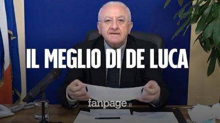 Coronavirus, il presidente della Regione Campania Vincenzo De Luca, tra mascherine e lanciafiamme
