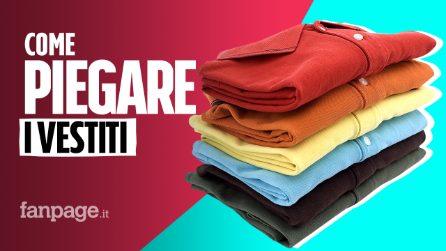 Come piegare i vestiti per avere l'armadio in ordine: il metodo per t-shirt, felpe, jeans e calzini
