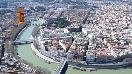 Coronavirus, controlli a Roma della Polizia dall'elicottero