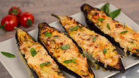 Eggplant boats: this is both weeknight-friendly and protein-packed!