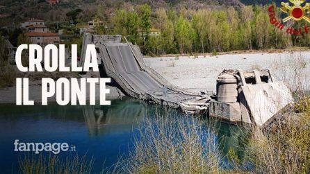 Crolla ponte a Massa Carrara: camion precipita nel vuoto. Ecco il video della struttura collassata