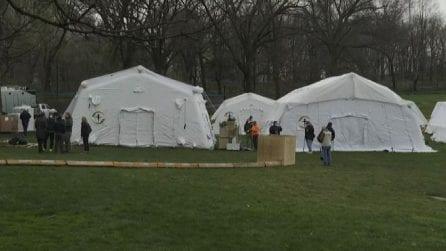 Ecco l'ospedale da campo costruito a Central Park a New York