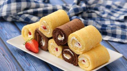 Rotolini di pan di spagna con crema e fragole: facili, golosi e veloci da preparare!