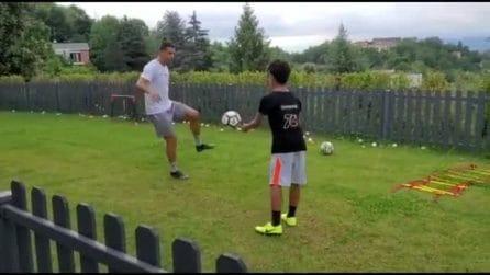 Cristiano Ronaldo si allena con il figlio aspettando la fine della quarantena