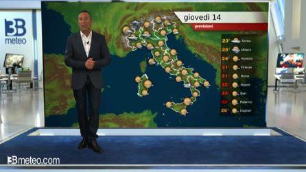 Previsioni meteo per giovedì 14 maggio 2020