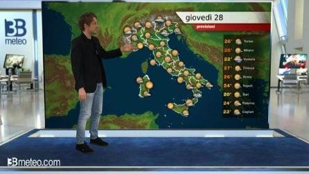 Previsioni meteo per giovedì 28 maggio 2020
