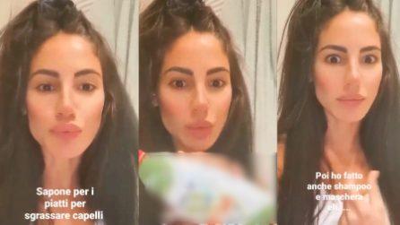 """Giulia De Lellis lava i capelli con il detersivo per i piatti: """"Avevo i capelli unti, si può fare?"""""""