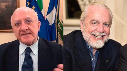 """Gli auguri di De Luca a De Laurentiis: """"Bello trovare qualcuno che dice anche qualche parolaccia, fa bene"""""""