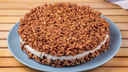 Cheesecake con riso soffiato, mascarpone e cioccolato: il dessert facile e veloce da provare!