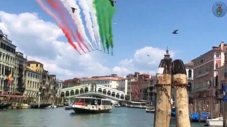 Frecce Tricolori su Venezia, immagini spettacolari