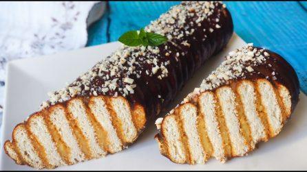 Tronchetto crema e cioccolato senza cottura: la ricetta che accontenta tutti i gusti
