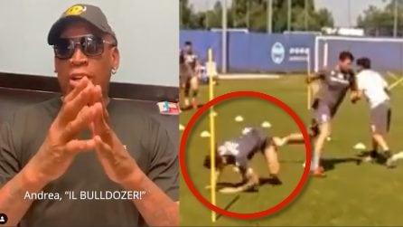 Andrea 'Bulldozer' Petagna si scatena in allenamento dopo il videomessaggio di Rodman