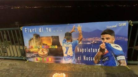 Buon compleanno Insigne, lo striscione omaggio vicino alla sua casa a Posillipo