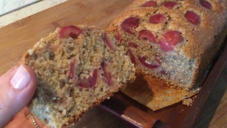 Plumcake integrale alle ciliegie: il dessert leggero ma pieno di gusto