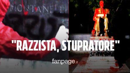 """Imbrattata statua di Indro Montanelli, il video del raid di Rete Studenti: """"Razzista, stupratore"""""""