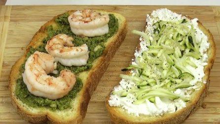 Bruschette con zucchine e gamberetti: la ricetta fresca e veloce