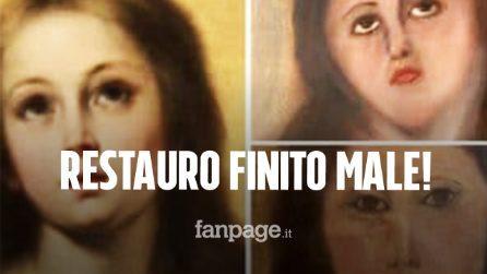 Il restauro del dipinto finisce male: il volto della Madonna completamente sfigurato