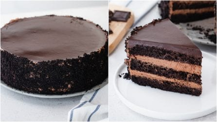 Triple layers chocolate creamy cake: this recipe will be a family favourite!