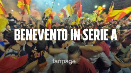 Benevento in serie A, i tifosi riempiono le strade della città