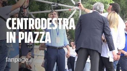 """Centrodestra in piazza, Salvini e Meloni: """"Parlamentari lasciano M5s perché ha tradito gli elettori"""""""