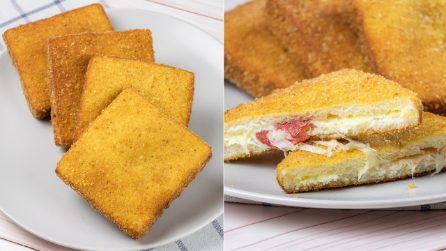 Fried mozzarella sandwiches: crispy outside and creamy and cheesy inside!