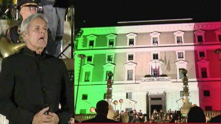 Omaggio della Polizia alle vittime del Covid, Baglioni canta l'inno di Mameli