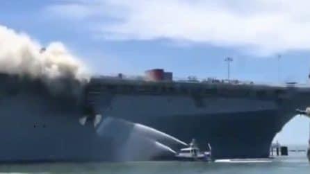 Incendio su una nave militare al porto di San Diego: 21 feriti