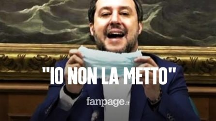 """Salvini rifiuta di mettere la mascherina in Senato, al convegno sul Covid: """"Non la metto"""""""