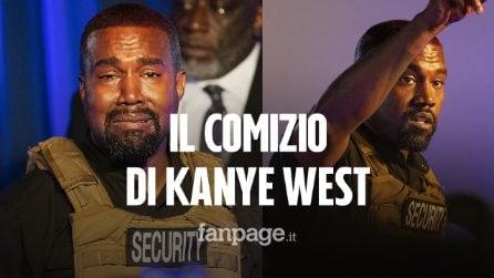 """Il comizio di Kanye West, che scoppia in lacrime: """"Stavo per uccidere mia figlia con l'aborto"""""""