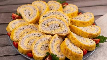 Rotolo di frittata e pollo: perfetto per un pranzo leggero e pieno di sapore!