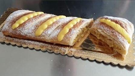 Strudel di pasta sfoglia con crema: il dessert veloce e pieno di gusto