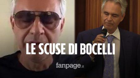 """Bocelli si scusa in un video dopo le dichiarazioni sul Covid: """"Non volevo offendere nessuno"""""""