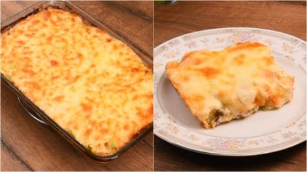 Zucchini and chicken flan: the end result is so cheesy and tasty!