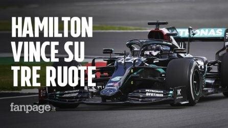 Hamilton vince con una ruota bucata il Gran Premio di Silverstone: terzo posto per Leclerc