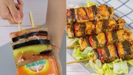 Spiedini di pollo e verdure: il trucchetto furbo per farli in pochi minuti!
