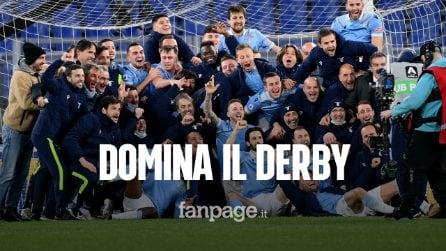 La Lazio batte la Roma 3-0: gli azzurri dominano il derby, doppietta di Luis Alberto