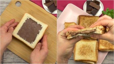 Toast farciti al cioccolato: la merenda golosa che farà impazzire grandi e piccini!