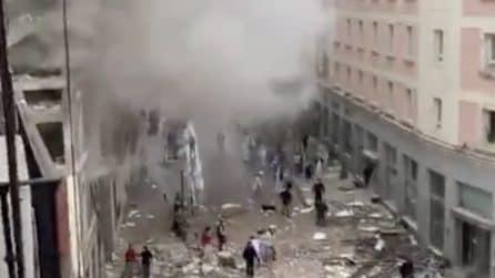Madrid, esplosione nel centro città: edificio distrutto