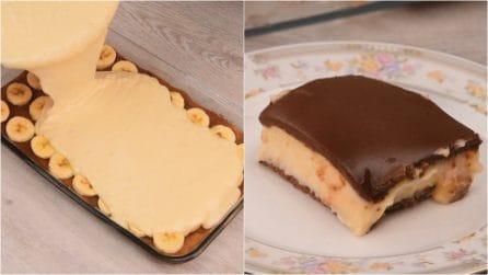 Torta budino alla banana e cioccolato: non potrai farne a meno!