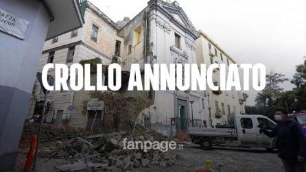 """Crollo facciata palazzo a Napoli accanto a scuola. Residenti e commercianti: """"Denunciamo da anni"""""""