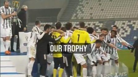 Juventus, i calciatori alzano la Supercoppa: le voci e la festa vista dal campo