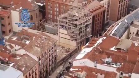 Esplosione a Madrid: la distruzione dell'edificio dall'alto