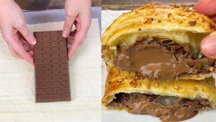 Barretta di cioccolato e pasta sfoglia: la merenda golosa pronta con solo 2 ingredienti!