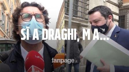 """Fiducia a Draghi, Salvini: """"Euro irreversibile? Sempre d'accordo con lui"""""""