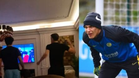 Il terzo portiere dell'Inter esulta al gol della Stella Rossa contro il Milan: è il figlio di Stankovic