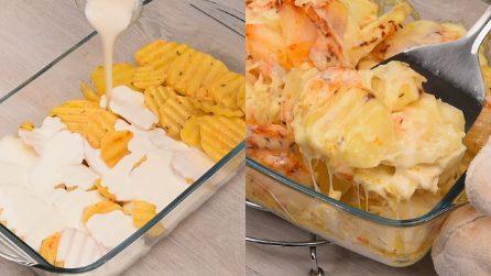 Patate al forno con panna e formaggio: la ricetta adatta per una cena deliziosa!