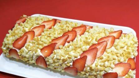 Rotolo mimosa con fragole: la ricetta del goloso dessert senza cottura