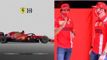 Ferrari, un nuovo colore per la macchina: Sainz e Leclerc svelano le novità