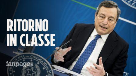 """Draghi annuncia: """"Riapertura della scuola fino alla prima media in zona rossa"""""""