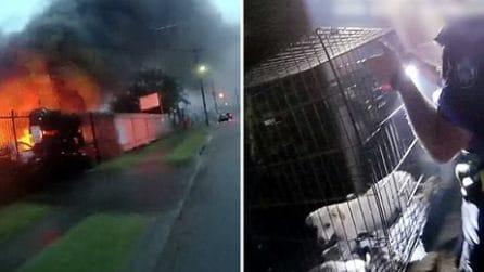 Negozio di animali in fiamme, poliziotti eroi salvano tutti i cuccioli